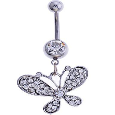 Naisten Kehokorut Navel & Bell Button Rings Ylellisyys Timanttijäljitelmä Metalliseos Butterfly Animal Korut Käyttötarkoitus Party
