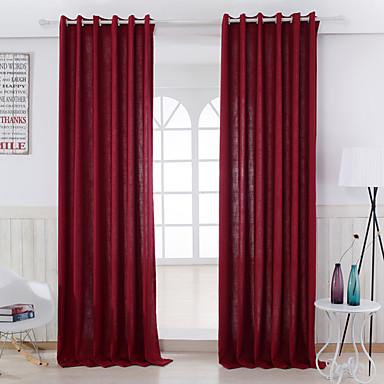 Schlaufen für Gardinenstange Ösen Schlaufen Zweifach gefaltet zwei Panele Window Treatment Modern Solide Wohnzimmer Leinen-Polyestergewebe