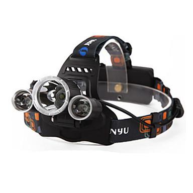 פנסי ראש LED 4800lm 4 מצב תאורה עם סוללות ומטען נטענת / עמיד במים / ראיית לילה מחנאות / צעידות / טיולי מערות / שימוש יומיומי / צלילה /