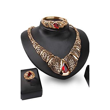 Kristall Krystall Aleación Schwarz Purpur Rot 1 Paar Ohrringe 1 Armreif Halsketten Ringe Für Hochzeit Party 1 Set Hochzeitsgeschenke