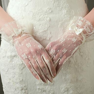 Nylon Puuvilla Rannepituus Glove Viehätys Tyylikäs Morsiuskäsineet Juhlakäsineet With Kirjonta Yksivärinen