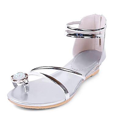 Damen Schuhe Kunstleder Sommer Zehenring Niedriger Absatz Für Kleid Silber Golden