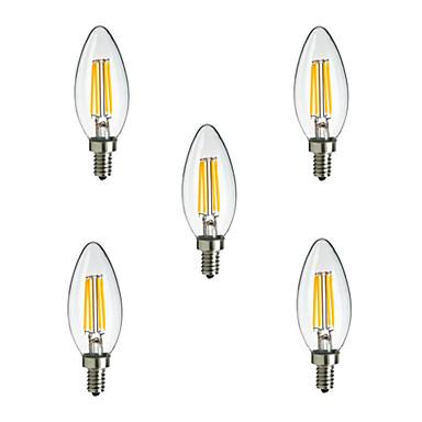 HRY 5pcs 2,5 W 250 lm E14 LED filament žarulje CA35 4 LED diode Visokonaponski LED Ukrasno Toplo bijelo Hladno bijelo AC 220-240V