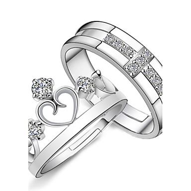 billige Motering-Par Parringer Forlovelsesring vikle ring 2pcs Sølv Sølv Strass damer Mote Brude Bryllup Fest Smykker Kors Hjerte Krone Justerbar