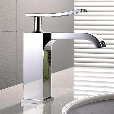 Moderne deckenmontiert Keramisches Ventil Ein Loch Einhand Ein Loch Chrom , Waschbecken Wasserhahn