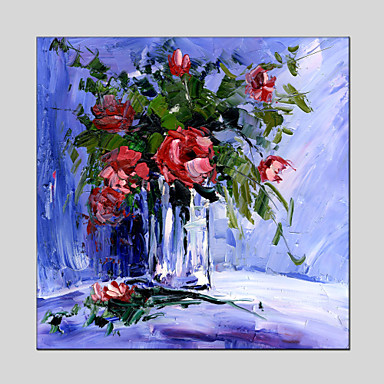 Håndmalte Still Life / Blomstret/BotaniskModerne / Klassisk / Tradisjonell / Parfymert / Europeisk Stil Et Panel LerretHang malte