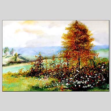 Pintados à mão Paisagens AbstratasModerno / Clássico / Realismo / Pastoril / Estilo Europeu 1 Painel Tela Pintura a Óleo For Decoração
