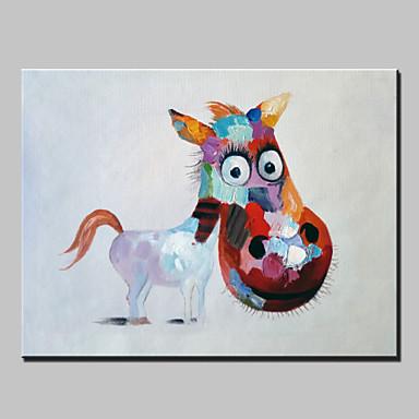 Maalattu Abstrakti Eläin Holiday Moderni 1 paneeli Kanvas Hang-Painted öljymaalaus For Kodinsisustus