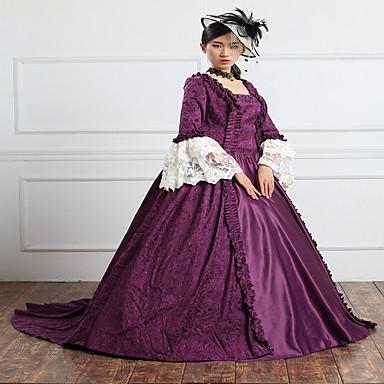 Einteilig/Kleid Gothik Steampunk® Viktorianisch Cosplay Lolita Kleider einfarbig Normallänge Kleid Zum Spitze Leinen Satin