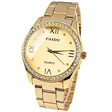 Mulheres Relógio de Moda Quartzo imitação de diamante Aço Inoxidável Banda Dourada