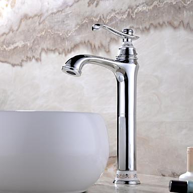 Antik deckenmontiert Keramisches Ventil Einhand Ein Loch with Chrom Waschbecken Wasserhahn