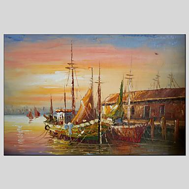 Ručno oslikana SažetakModerna / Klasika / Tradicionalno / Rustikalni / Europska Style Jedna ploha Platno Hang oslikana uljanim bojama For