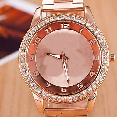 Damen Modeuhr Simulierter Diamant Uhr Quartz Armbanduhren für den Alltag Legierung Band Silber Rosa Gelb