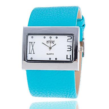 Damen Modeuhr Quartz Armbanduhren für den Alltag Leder Band Weiß Blau Braun Grün Mehrfarbig