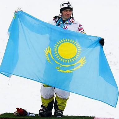 neue 90 * 150cm hängen kazakhstan Nationalflagge Fahne im Freien Innen-Wohnkultur (ohne flagpole)