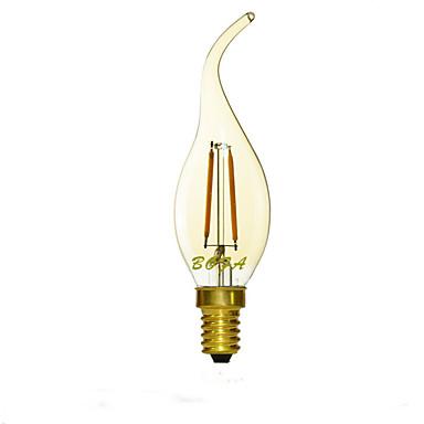 1pc 1.5 W 2200/2700 lm E14 LED-lysestakepærer C35 2 LED perler COB Mulighet for demping / Dekorativ Varm hvit 220-240 V / 1 stk.