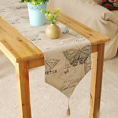 ריבוע מעוטר ראנר לשולחן , פשתן / כותנה מעורבת חוֹמֶר שולחן Dceoration
