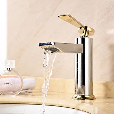 Moderne Mittellage Wasserfall Keramisches Ventil Ein Loch Einhand Ein Loch Chrom , Waschbecken Wasserhahn