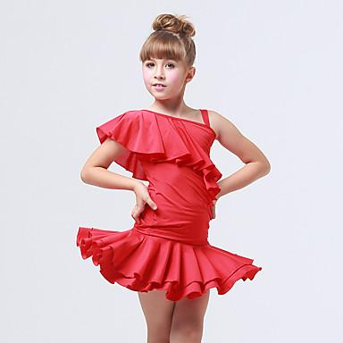Tanzkleidung für Kinder Austattungen Kinder Training Elastan Polyester Rüschen Gerafft 2 Stück Ärmellos Top Rock