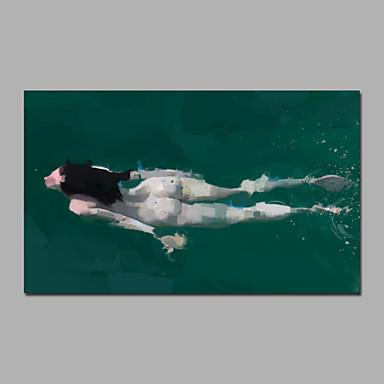 Hang-Ölgemälde Handgemalte - Abstrakt / Menschen Modern Segeltuch