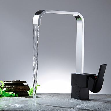 Nykyaikainen Vesiputous with  Keraaminen venttiili Yksi kahva yksi reikä for  Nikkeli kiillotettu , Kitchen Faucet