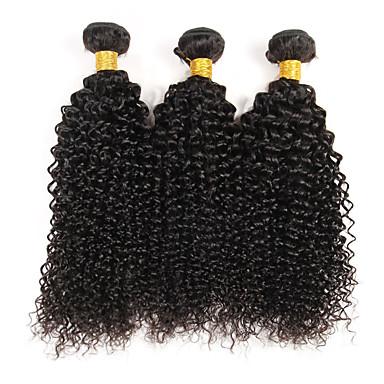 저렴한 가발 & 헤어 연장-3 개 묶음 브라질리언 헤어 Kinky Curly 곱슬 직물 10A 버진 헤어 인간의 머리 직조 네이처 블랙 인간의 머리 되죠 뜨거운 판매 인간의 머리카락 확장 / 킨키 곱슬