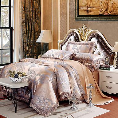 ensembles housse de couette g om trique 4 pi ces m lange soie coton jacquard m lange soie coton. Black Bedroom Furniture Sets. Home Design Ideas