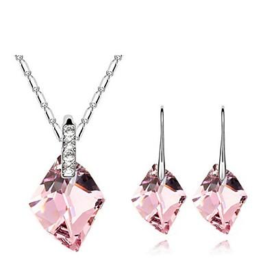 סט תכשיטים לנשים יומי סטי תכשיטים סגסוגת קריסטל שרשראות / עגילים לבן