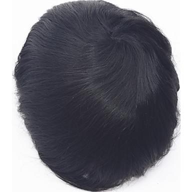 0.06mm piel súper delgada de la PU v bucle titular natural de la PU de los hombres de piel delgada peluquín