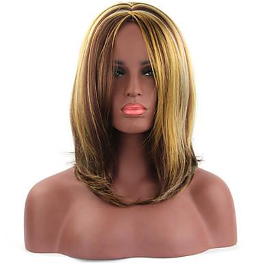 Damen Synthetische Perücken Kappenlos Kurz Glatt Braun Kostüm Perücken