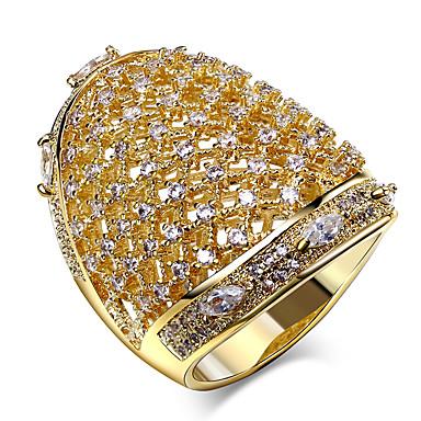 Anéis Grossos Zircônia cúbica Jóias de Luxo Moda Bijuterias Destaque Zircão Zircônia Cubica Cobre Pedaço de Platina Chapeado DouradoForma