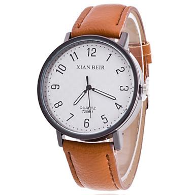 Homens Relógio Elegante Quartzo LED Relógio Casual Couro Banda Preta Branco Marrom