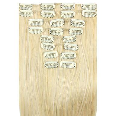 cheveux raides extension de cheveux synthétiques perruque blanche 62cm d'or à haute température de la longueur du câble