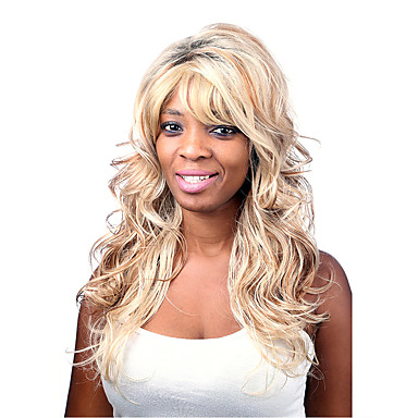 Syntetisk hår Parykker Bølget Lokkløs Medium Blond