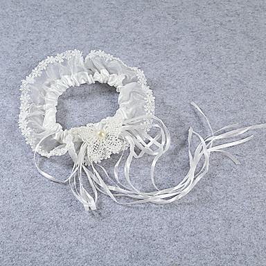 Strumpfband Stretch-Satin Spitze Blume Schleidenbänder Perlenstickerei Elfenbein