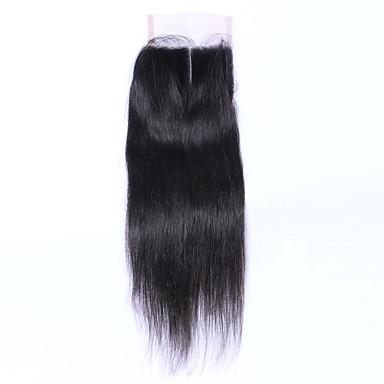 שחור טבעי (#1B) ישר שיער אדם סגירת מעגל חום בינוני תחרה שוויצרית גְרַם גודל Cap