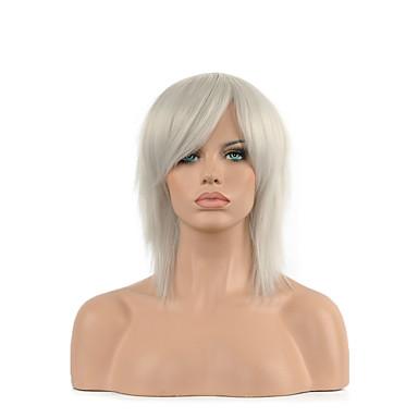 Damen Synthetische Perücken Kappenlos Kurz Glatt Weiß Kostüm Perücken