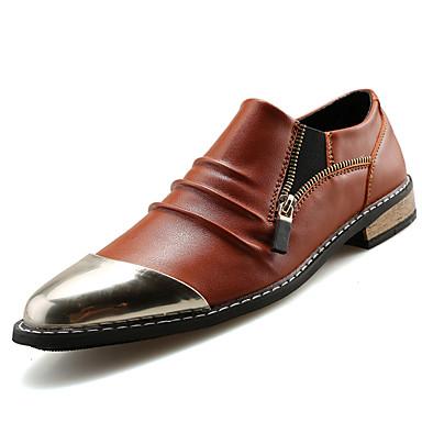 גברים נעליים דמוי עור אביב קיץ סתיו חורף נוחות רוכסן עבור קזו'אל מסיבה וערב שחור חום נייבי