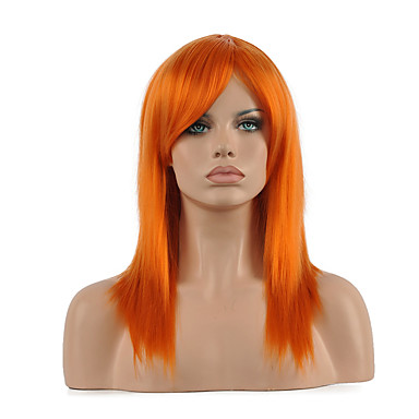 Synthetische Perücken / Perücken Damen Glatt Rot Synthetische Haare Rot Perücke Mittlerer Länge Kappenlos Orange