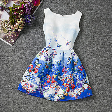 お買い得  女児 ドレス-子供 女の子 フローラル お出かけ 週末 バタフライ プリント ノースリーブ コットン ドレス ブルー
