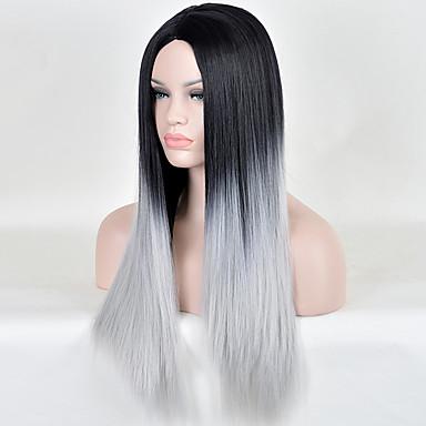여성 인조 합성 가발 긴 스트레이트 그레이 옴브레 헤어 코스튬 가발