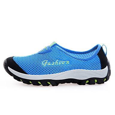 Damen Schuhe Tüll Kunststoff Komfort Walking Flacher Absatz Runde Zehe für Normal Draussen Grau Blau Korallenrot