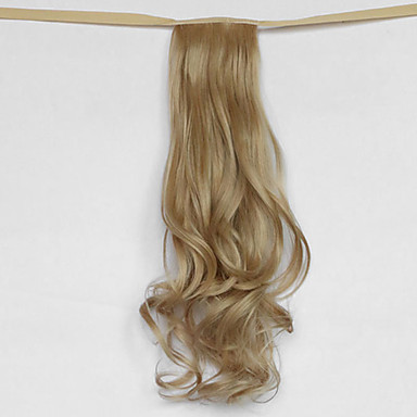onda de água bege loiro tipo de atadura sintética peruca de cabelo rabo de cavalo (cor 25)