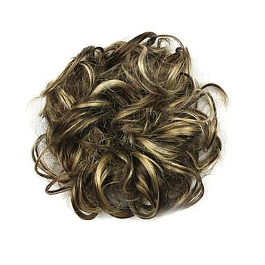 Syntetiske parykker / Chignon-nakkeknuder Krøllet / Klassisk Frisure i lag Syntetisk hår updo Paryk Dame Kort Sort / Medium Brun