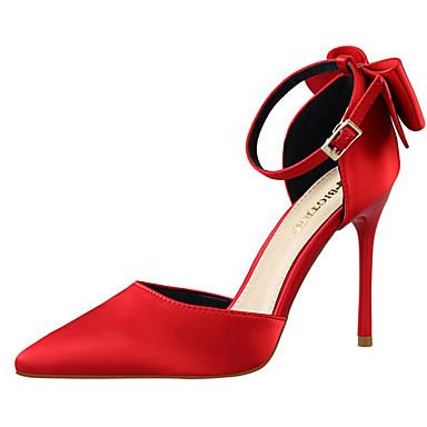 Női Cipő Selyem Nyár Stiletto Kompatibilitás Hétköznapi Ezüst Piros Rózsaszín Aranyozott Burgundi vörös