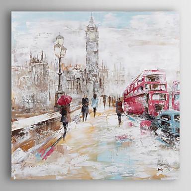 pintados à mão paisagem pintura a óleo pessoas andando na rua da cidade -ⅱ com esticada quadro arts® 7 parede