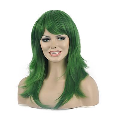 longue perruque synthétique de couleur verte populaire naturel pour femme