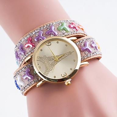 Damen Modeuhr Simultan? Diamant Uhr Armbanduhren für den Alltag Quartz PU Band Mehrfarbig