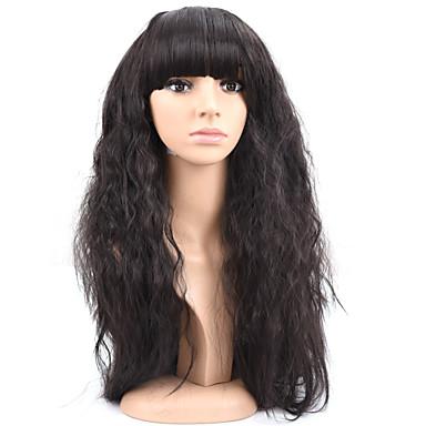 perucas sintéticas Partido Popular onda natural a longo mulher cor preta