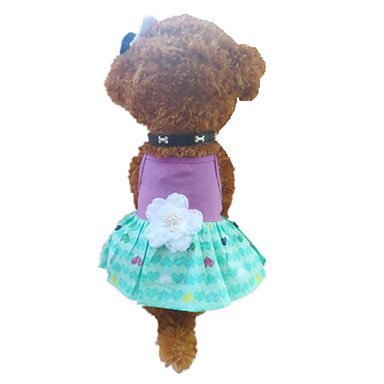 Dog Dress Dog Clothes Heart Green / Purple Cotton Costume For Pets